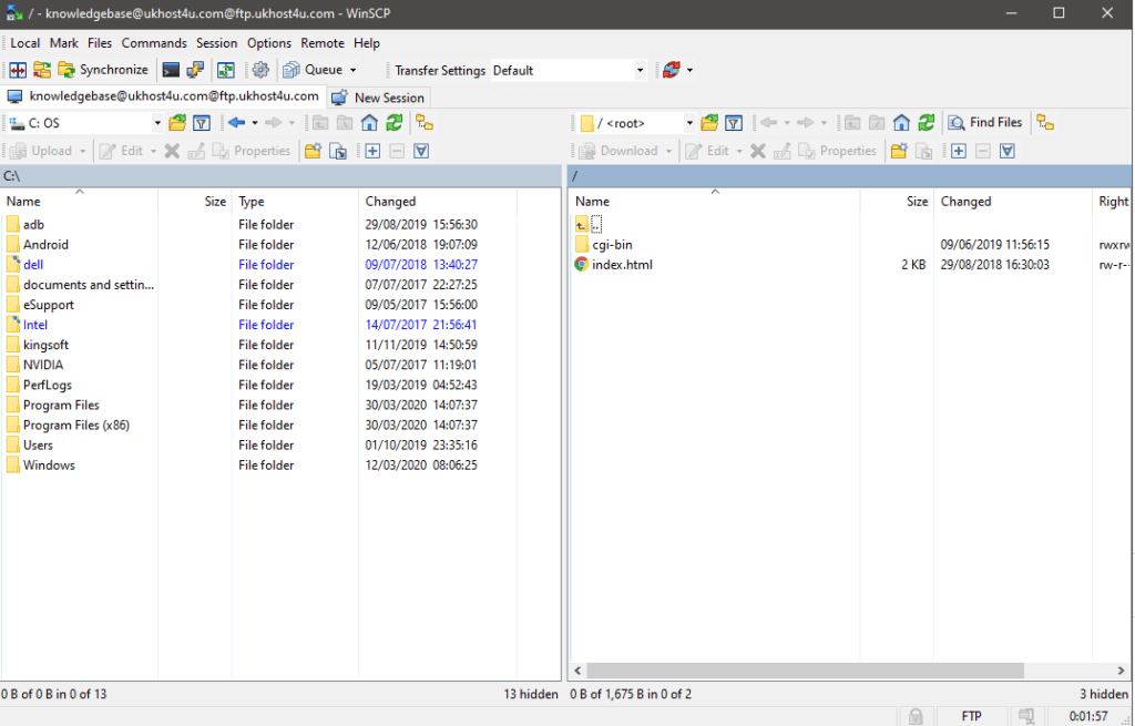 WinSCP successful FTP connection screen