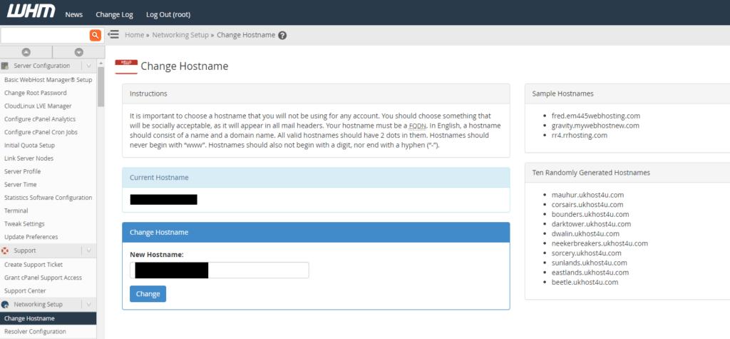 change hostname screen in WHM