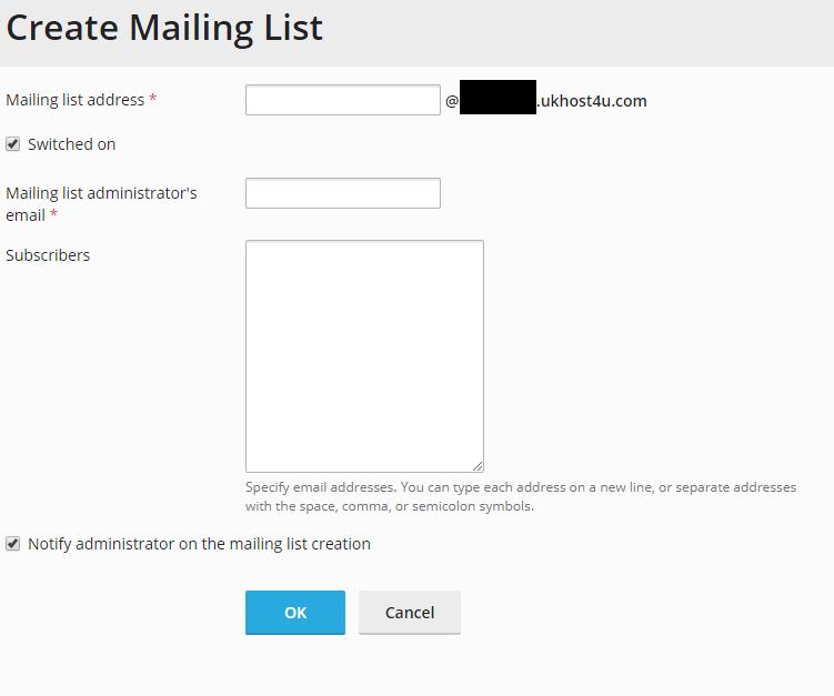 Create Mailing List screen in Plesk