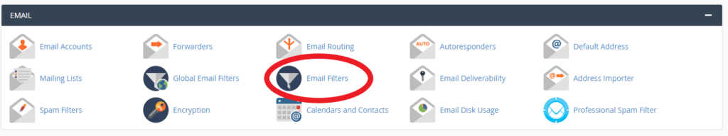 screenshot showing email filters in cPanel