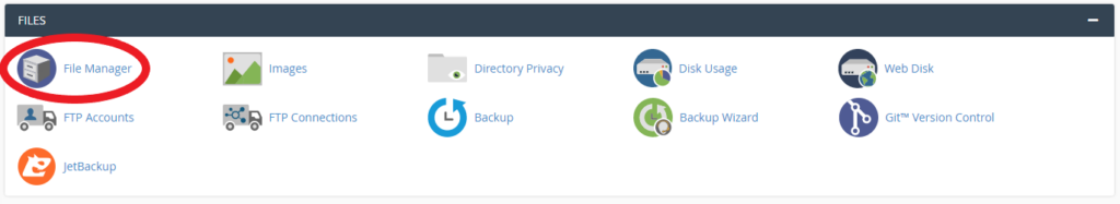 screenshot showing file manager in cPanel