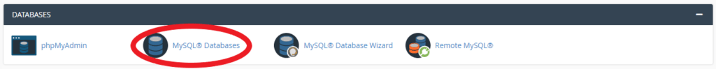 MySQL databases option in cPanel