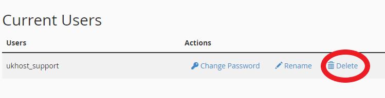 deleting database user in cPanel
