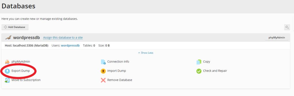 Export database dump option in Plesk