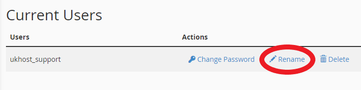 renaming database user option in cPanel