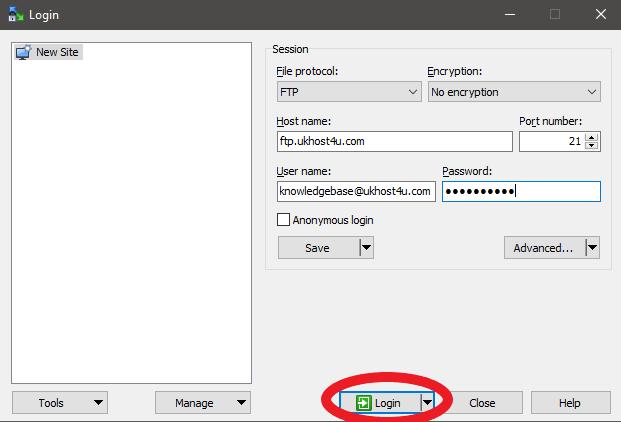 WinSCP login to server option