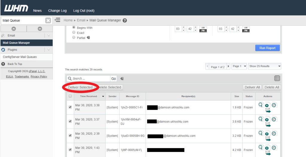 deliver selected emails from queue option in WHM
