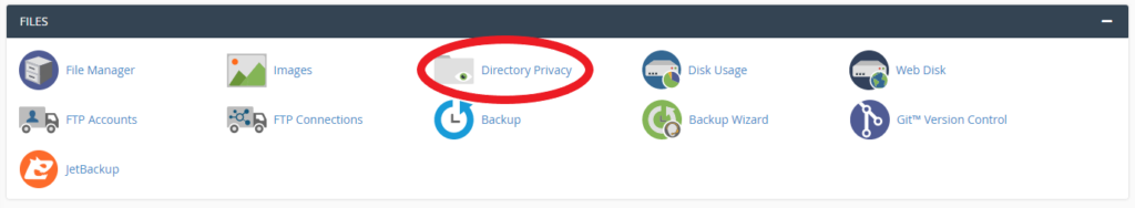Directory Privacy section in cPanel