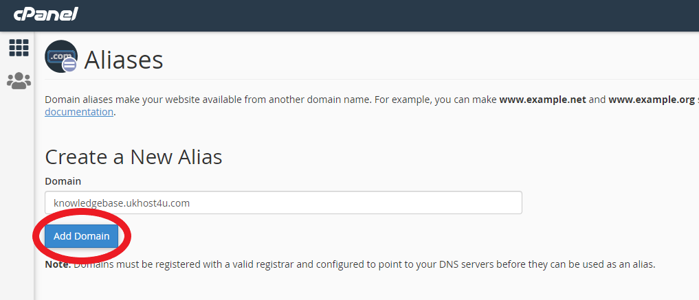 screenshot of adding new Alias in cPanel