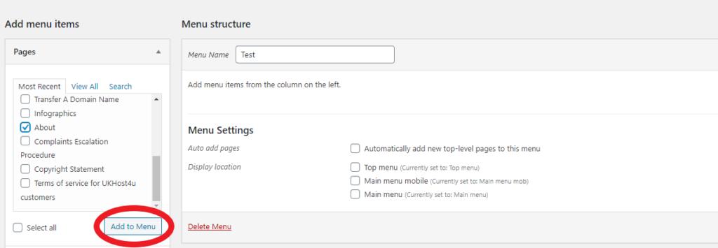 Adding items to menu screen in WordPress