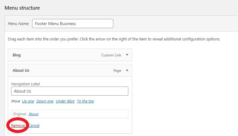 Removing item from a menu in WordPress