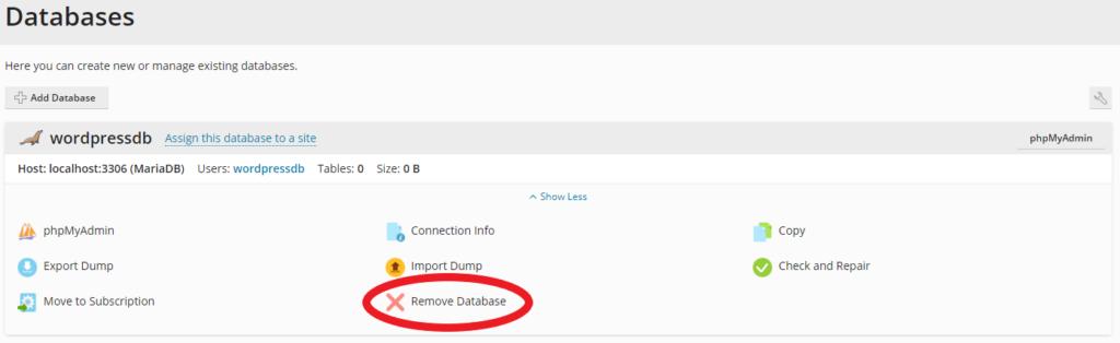 remove database option in Plesk