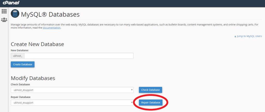 repair database option in cPanel