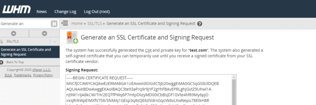 image of certificate request in WHM