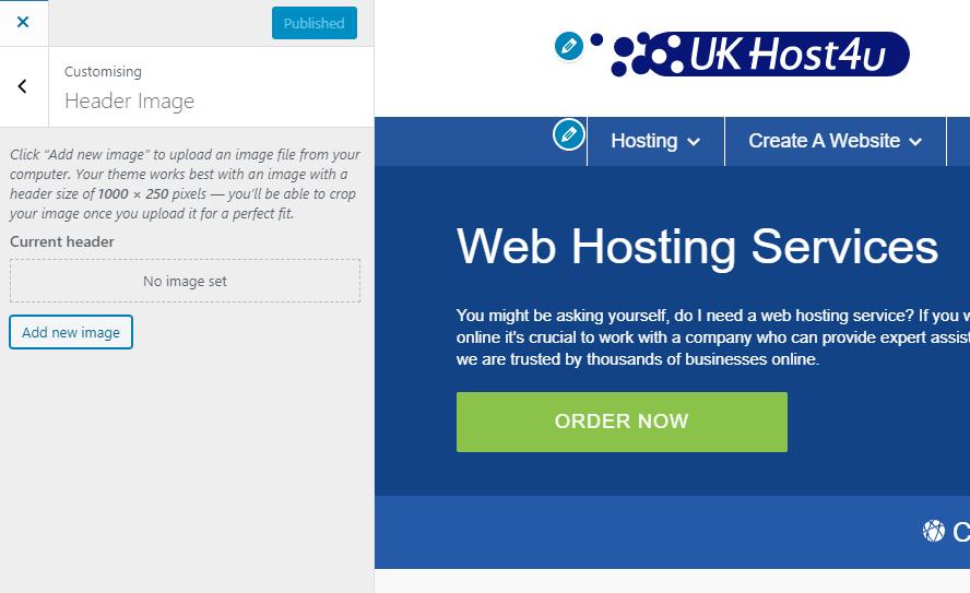 Header image options in WordPress