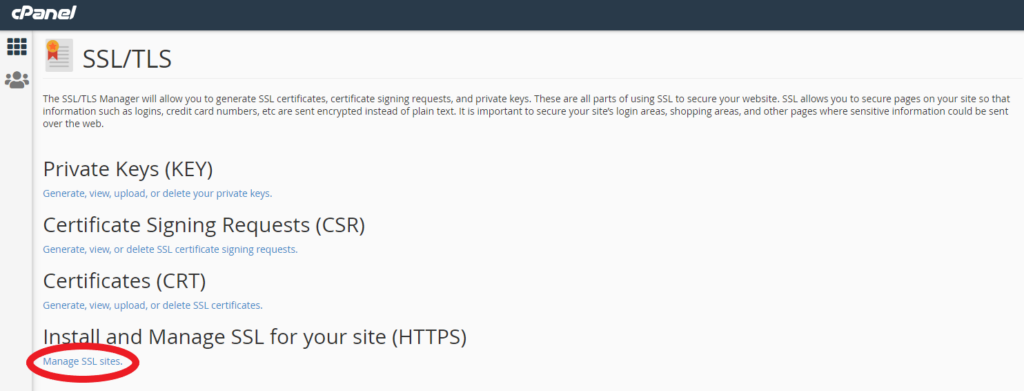 image showing Manage SSL Sites in cPanel