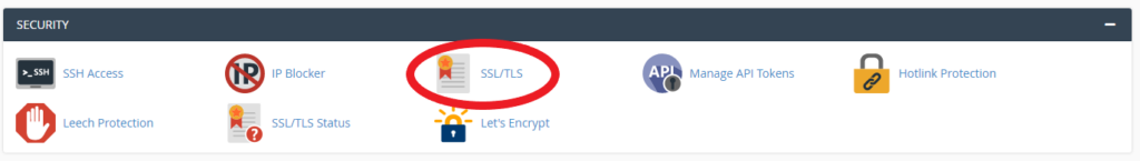screenshot showing SSL/TLS option in cPanel