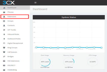 screenshot highlighting Extensions option in 3CX dashboard