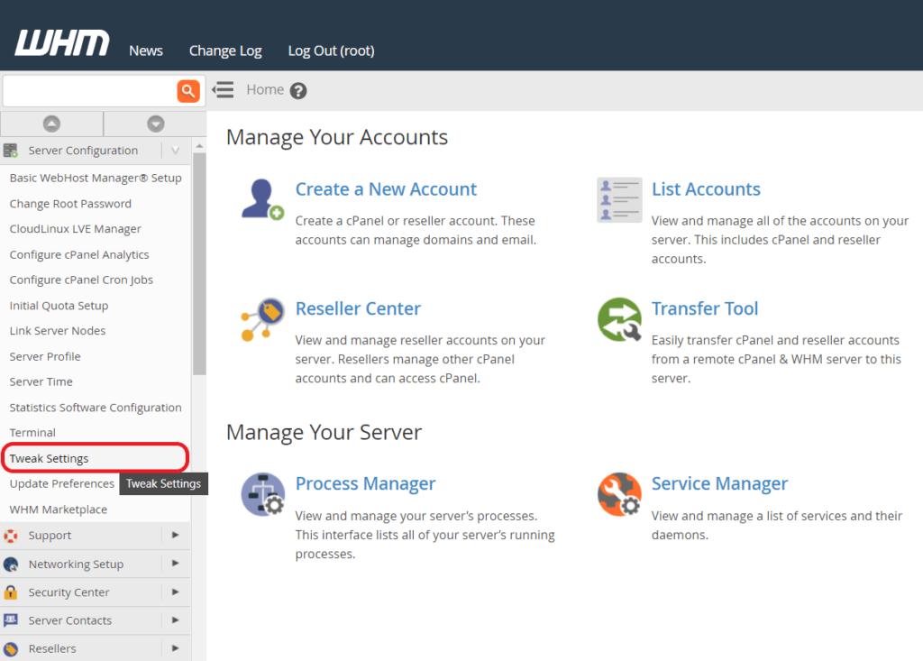 image showing Tweak Settings option in WHM