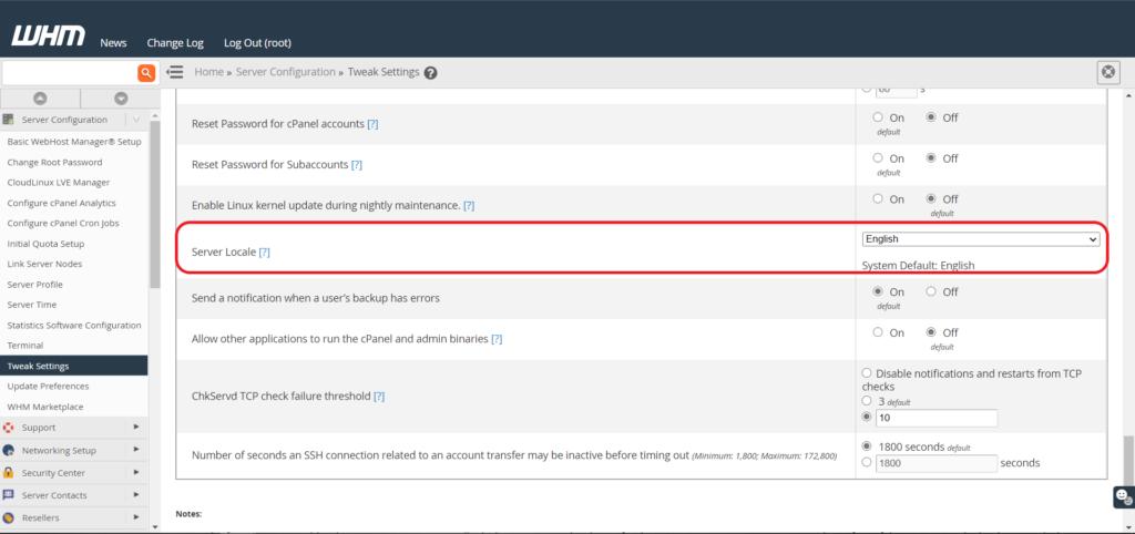 screenshot showing Server Locale option in Tweak Settings