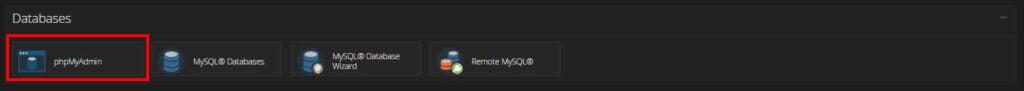screenshot showing phpMyAdmin in cPanel