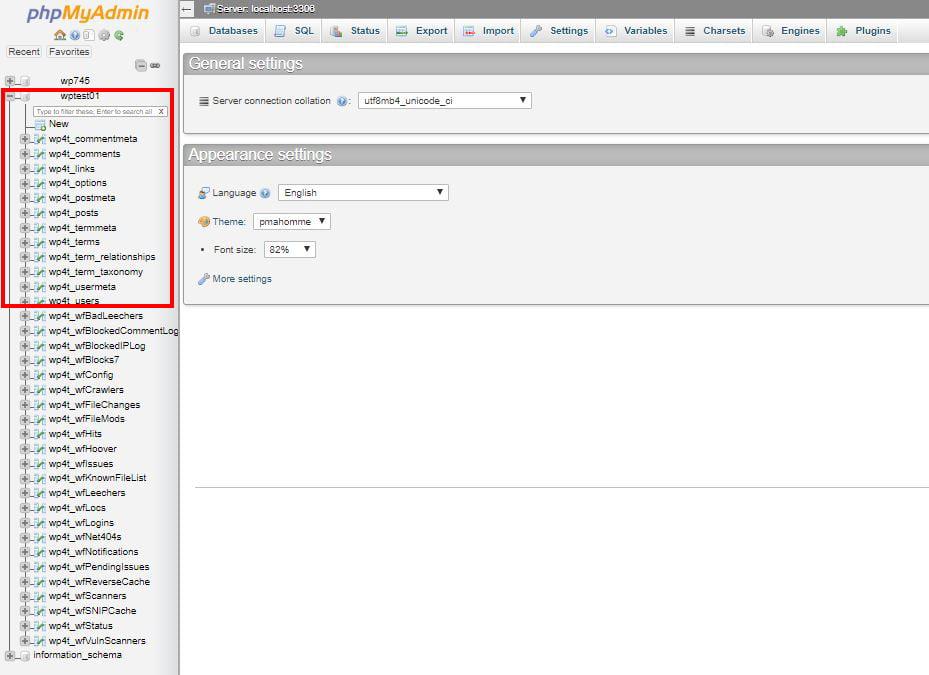 screenshot showing database tables in phpMyAdmin