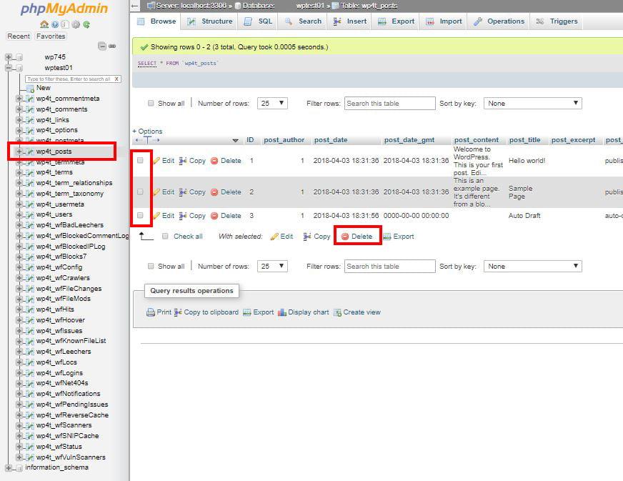 screenshot showing delete table in phpMyAdmin