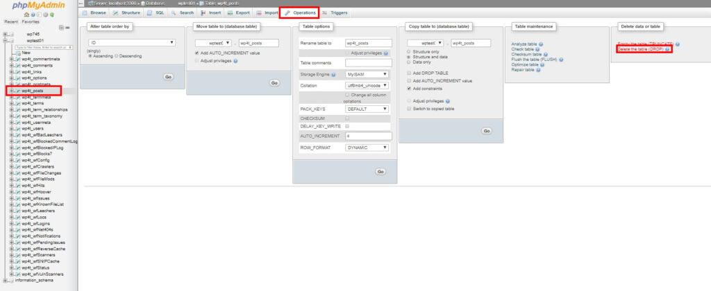 screenshot showing entire table delete in phpMyAdmin