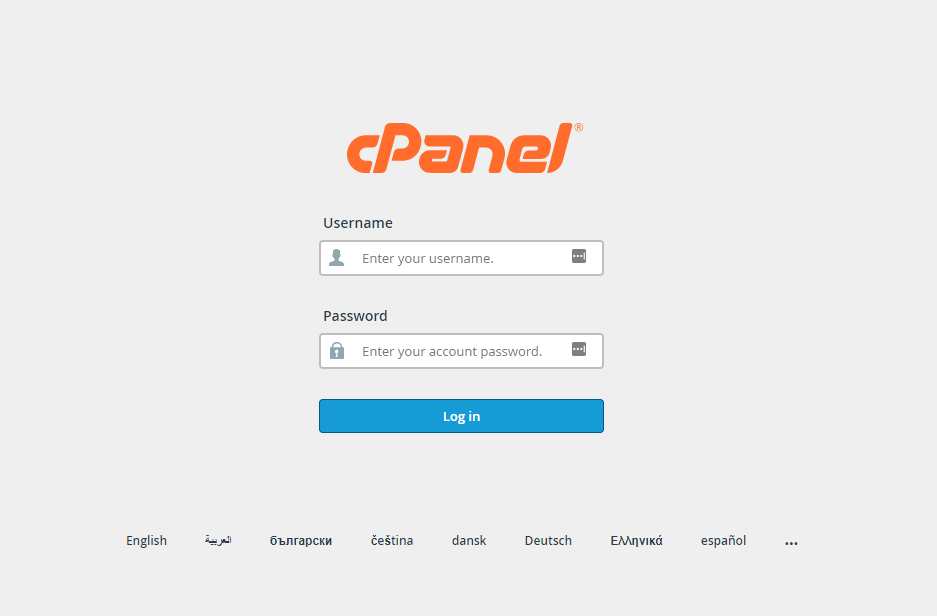 screenshot of cPanel login page