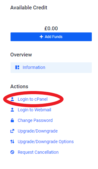 screenshot showing cPanel login option