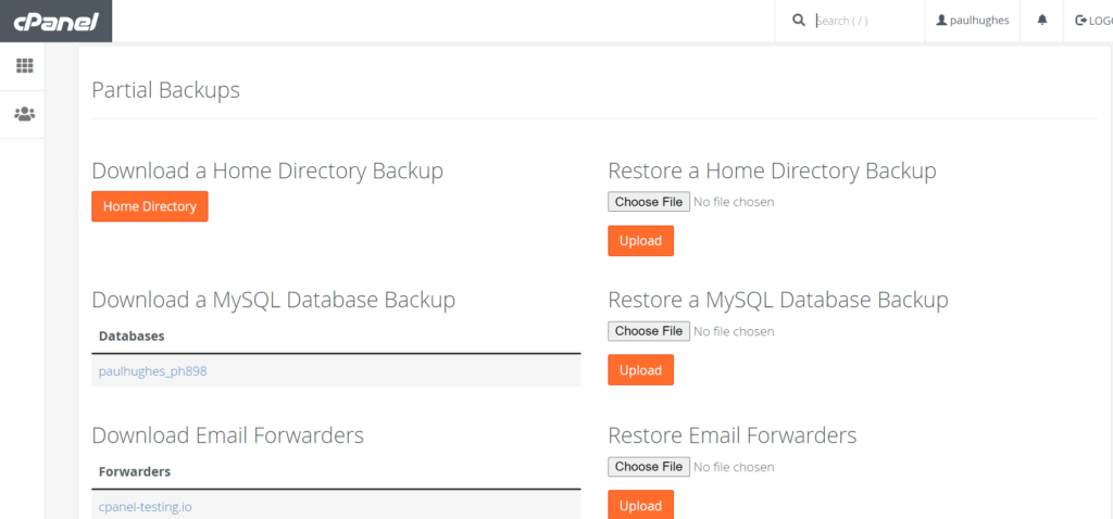 picture showing how to make partial account backup on cPanel