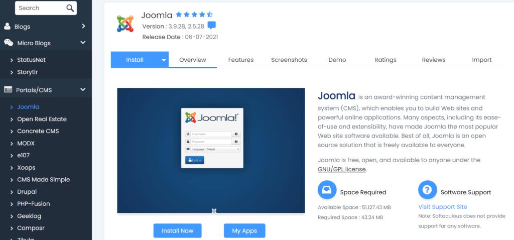 ukhost4u.com Joomla installation using Softaculous